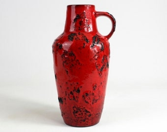 Vintage red Fat Lava ceramic vase by Gräflich Ortenburg, Mid Century - 70s, Modernist, West German Pottery