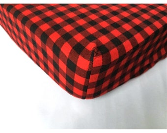 Lumberjack baby fitted sheet flannel/fleece black and red hunting checkers baby crib bedding toddler transition bed 4 to 6 inches matress