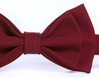 Burgundy Bow Tie / Wine Bow Tie & Pocket Square -- Baby Bow Tie, Toddler Bow Tie, Boy Bow Tie, Adult Bow Tie -- Father Son Matching Bow Ties