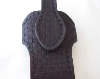 Large hand tooled leather cell phone case cover Made in Montana