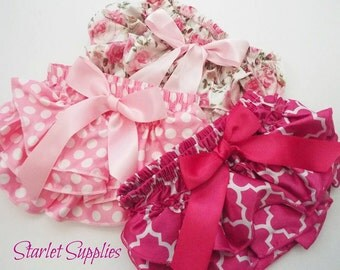3 PC Baby Bloomer LOT/SUPPLY, Size Small, Pink Bloomers, Diaper Covers