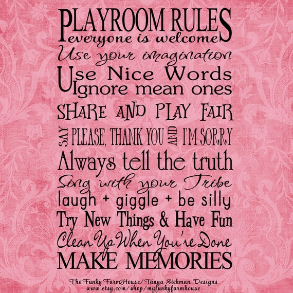 SVG, DXF & PNG - Playroom Rules