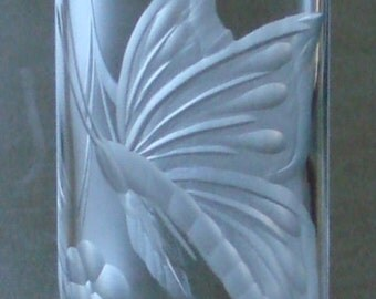 Butterfly, Vase, Hand Engraved, Clear Vase, Butterfly Vase, Art Glass, Glass Art, Home Decor,Gifts for Her.