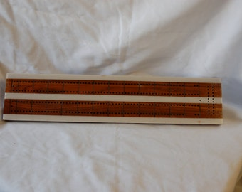 Walnut two land cribbage board