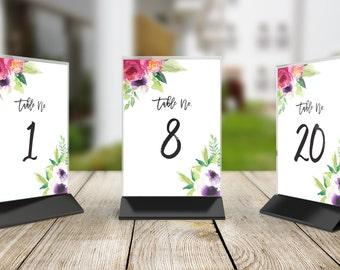 Printable Wedding Table Number Signs, Set of 20, DIY Table Numbers - 1 to 20 Vivid Blooms