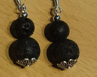 Black Lava Stone Earrings 5