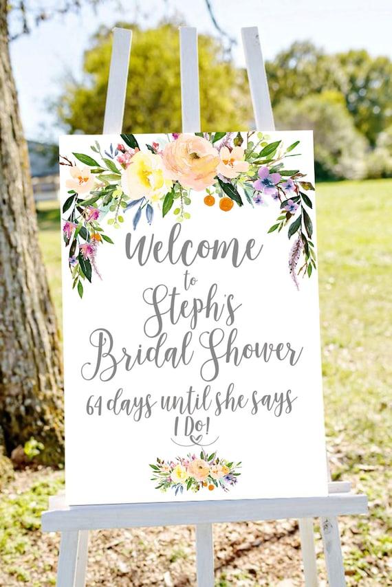 bridal shower sign bridal shower welcome sign bridal countdown