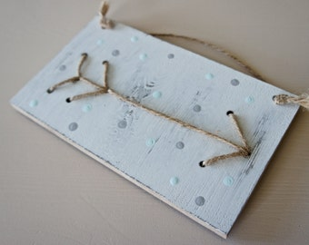 Arrow Wooden Sign - Pale Blue and Grey Polkadot