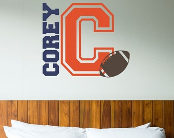 Personalized Teen Wall Decal - Football Decal - Vinyl Lettering - Football Wall Decor - Sports Decal - Baseball - Soccer - Basketball