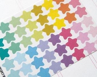 48 pastel solid star stickers, planner stickers, scrapbook sticker, reminder checklist sticker, star label eclp filofax happy planner kikkik