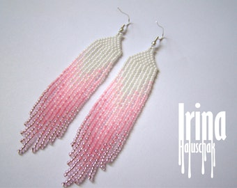 Beaded earrings, seed bead earrings, modern earrings, boho earrings, fringe earrings, beadwork jewelry, gradation from white to pink