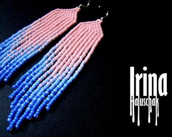 Pink Beaded earrings, seed bead earrings, modern earrings, boho earrings, fringe earrings, beadwork jewelry, gradation from pink to violet