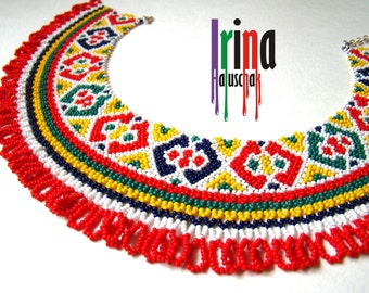 Ukrainian traditional necklace. Beaded collar. Silyanka. Покутська силянка. Gerdan