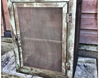 Vintage antique meatsafe kitchen storage cabinet