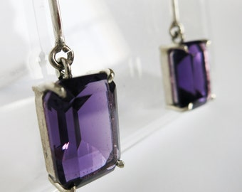 Silver pendant earrings with natural amethyst emerald style
