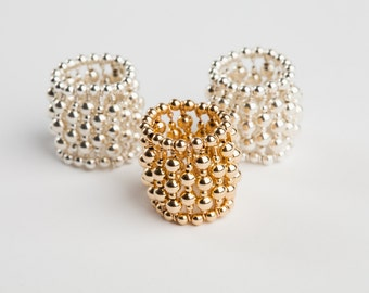 Sterling silver/ Gold-filled beaded ring