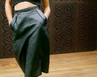 black leather 3/4 length skirt
