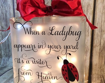 When a ladybug appears in your yard it's a visitor from Heaven Glass block 6x6, memorial home decor memory blocks birthday anniversary