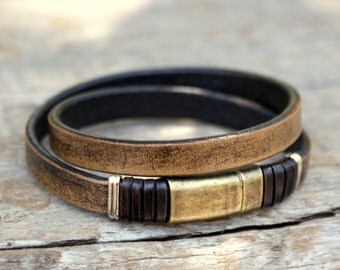 Mens bracelet, mens jewelry, leather wrap bracelet,  handmade, leather jewellery, unisex, leather bracelet,