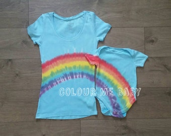 Mummy and me matching rainbow tshirt and baby vest bodysuit