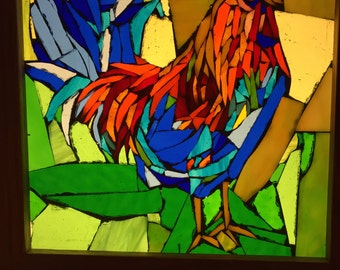 Rooster Stained Glass Mosaic