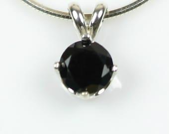 Faceted Black Spinel Necklace 925 Sterling Silver Round Spinel Pendant Natural Gemstone Black Necklace Handmade Formal Evening Necklace