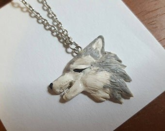 Howling White Wolf Necklace