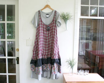 Recycled Dress / Plaid 'Maryse' Dress / By Breathe-Again Clothing