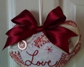 Vintage Style Valentine Embroidered and Embellished Fabric Heart Ornament with Satin Bow #1068-16