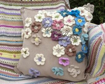 made to order medium crochet flower cushion