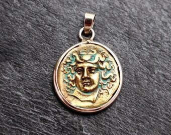 Athena Greek Coin Pendant - Sterling Silver & Brass