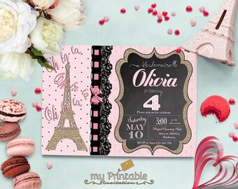 Paris Birthday Invitation / Digital Printable Birthday Invite for Kids / DIY Gold Glitter Eiffel Tower Party