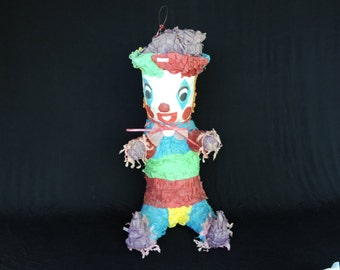 Free Shipping - Creepy Clown Halloween Vintage Pinata!  Great for Display or Party - Made in Mexico in 1960s
