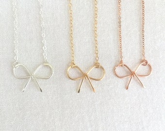 Sterling Silver Tie The Knot Necklace, Gold Bow, Rose Gold Necklace, Bridesmaid Necklace, Choker Bow, Wedding Jewelry, Bridal Necklace