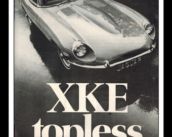 "Vintage Print Ad October 1969 : Jaguar XKE Convertible Roadster Topless Car Automobile Advertisement Wall Art Decor 8.5"" x 11"""