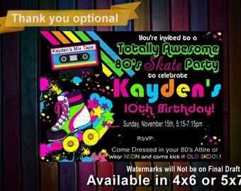 80s Rainbow Roller Skate Party, 80s Roller Skate Inviation, 80s party, Roller Skate Invitation, Roller Skate Invite, Custom, Printable