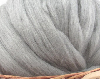 Grey Merino Wool Top Roving 23 Micron - Undyed Natural Spinning & Felting Fiber / 1oz