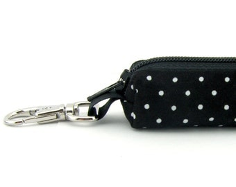 Lip Balm Holder, Mini Zipper Pouch with Clip, Lipstick Case, Memory Stick, Chapstick Holder, Small Pouch, Box, Black & White, Polka Dot