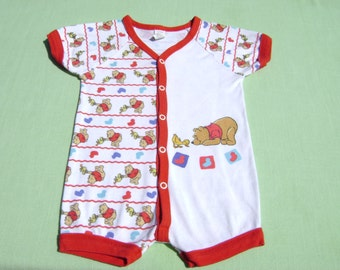 vintage winnie the pooh boys romper size 12 months size medium see measruements white with red trim winnie the pooh design