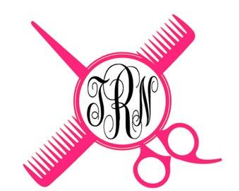 Scissor & Comb Monogram Vinyl Decal, Custom Hair Stylist / Hair Dresser Car Decal, Personalized 3 letter monogram permanent vinyl decal