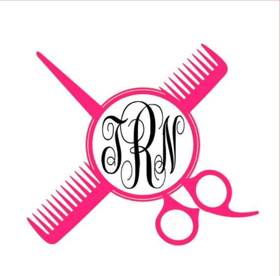 Scissor & Comb Monogram Vinyl Decal Custom Hair Stylist /