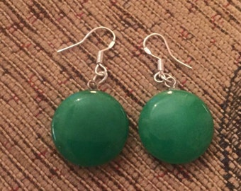 Agate green silver dangly earrings