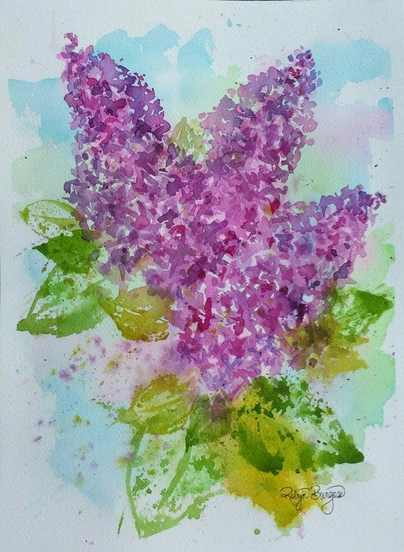 Pink Spring Lilacs Original Watercolor Painting