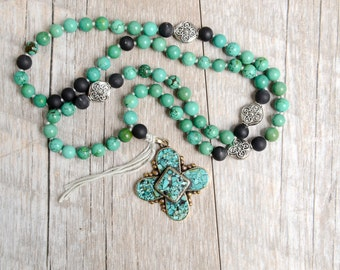 Hand Knotted Turquoise Cross Necklace