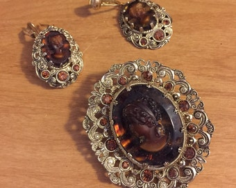 C1960's Germany Glass Cameo Brooch and Earrings Set
