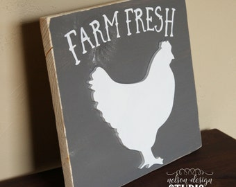 Farm Fresh, chicken, wood sign, hand painted, wood decor, rustic, farmhouse, distressed, home decor, kitchen
