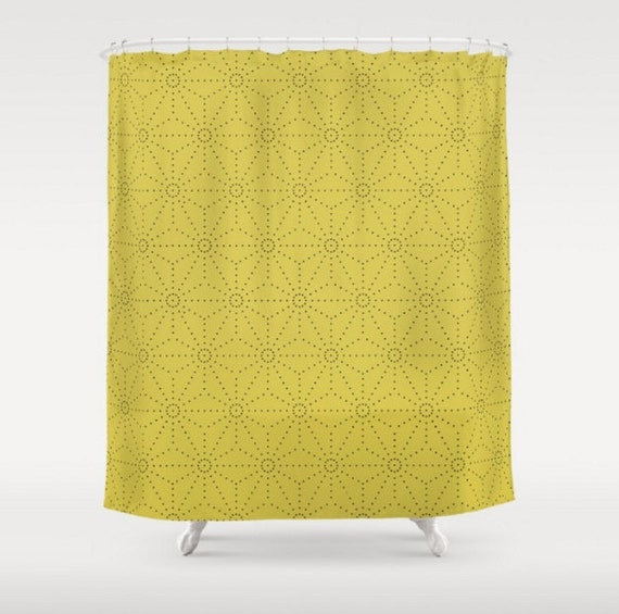 mid century modern shower curtain yellow shower curtain