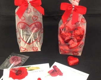 Valentine's Heart Shaped Chocolates, or Heart Shaped Lollipops Gift Bag with Card