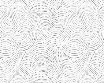 Low Volume Scallop Fabric - Scallop Dot by Dear Stella- Whisper - Black Scallop Dots on White