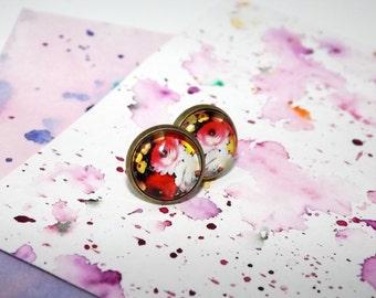 Floral stud earrings - Romantic earrings - Flower stud earrings - Floral earrings - Floral post earrings - Picture stud earrings